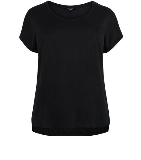 Curves Black Short Sleeve Tee | New Look