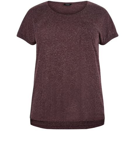 Curves Burgundy Short Sleeve T-Shirt  | New Look