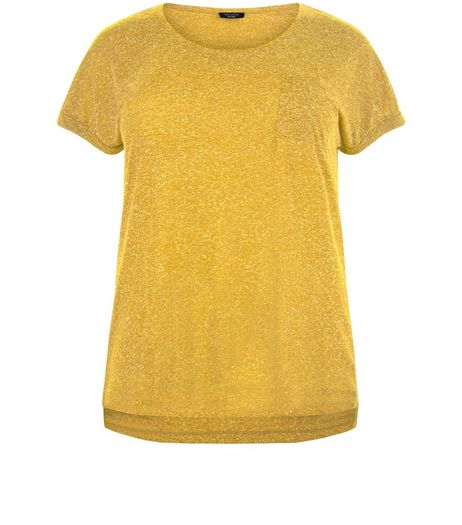 Curves Yellow Textured Pocket T-Shirt | New Look