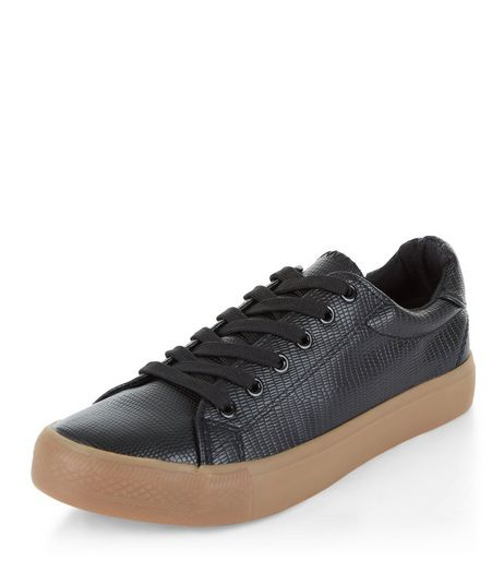 Black Lace Up Contrast Sole Plimsolls | New Look