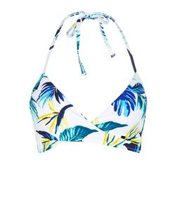 Yellow Tropical Print Wrap Bikini Top | New Look