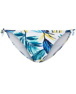 Yellow Tropical Print Tie Side Bikini Bottoms  | New Look
