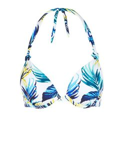 Yellow Tropical Print Extreme Push Up Bikini Top | New Look