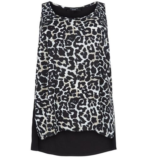 Curves Black Leopard Print Woven Vest | New Look
