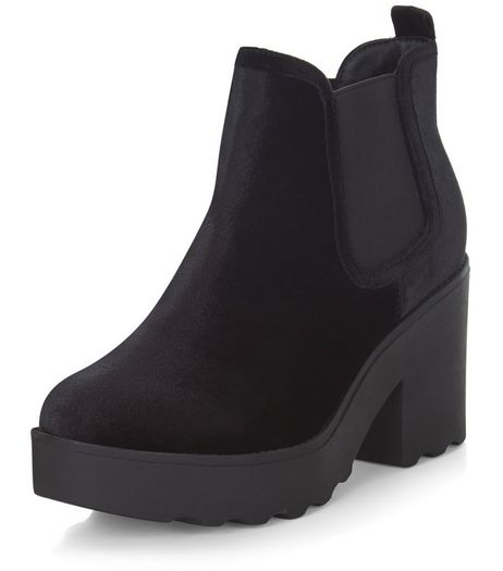 Black Velvet Chunky Chelsea Boots  | New Look