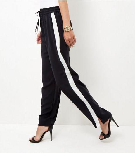 Black Side Stripe Wide Leg Trousers  | New Look