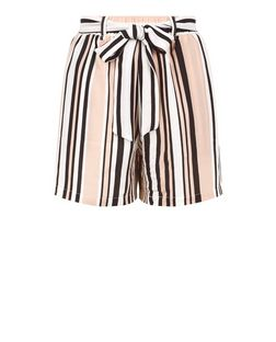 Pink Stripe Tie Waist Shorts | New Look