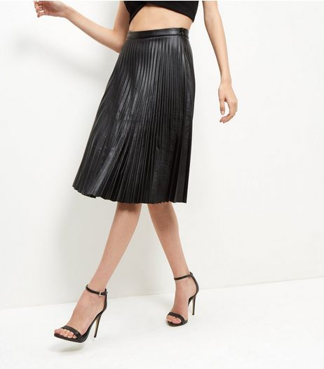 Black Leather-Look Pleated Midi Skirt  | New Look