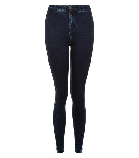 Teens Navy Acid Wash Skinny Jeans | New Look