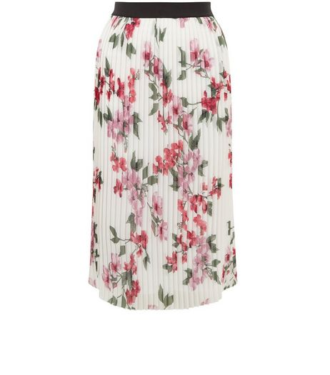 White Floral Print Pleated Midi Skirt  | New Look