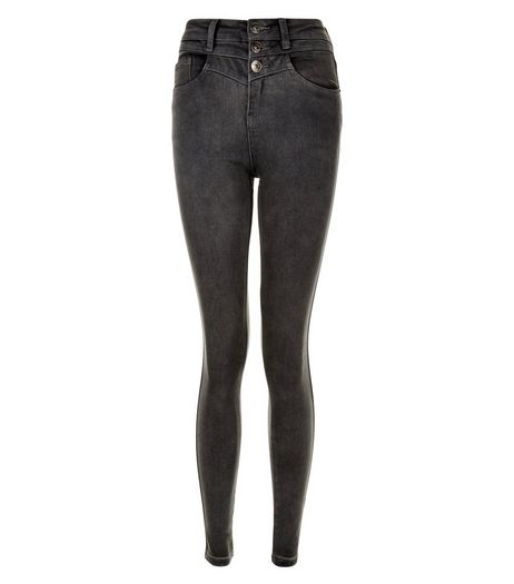 Teens Dark Grey High Waisted Skinny Jeans | New Look