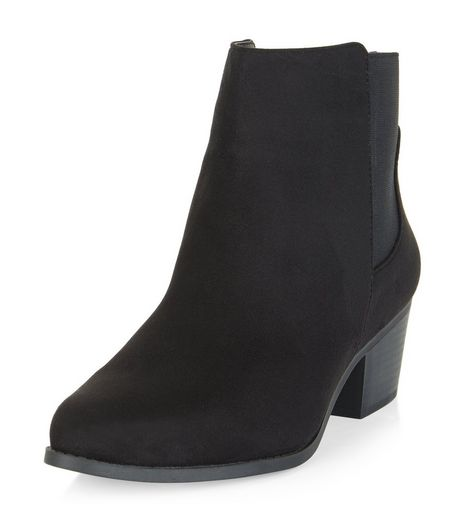 Black Block Heel Chelsea Boots  | New Look