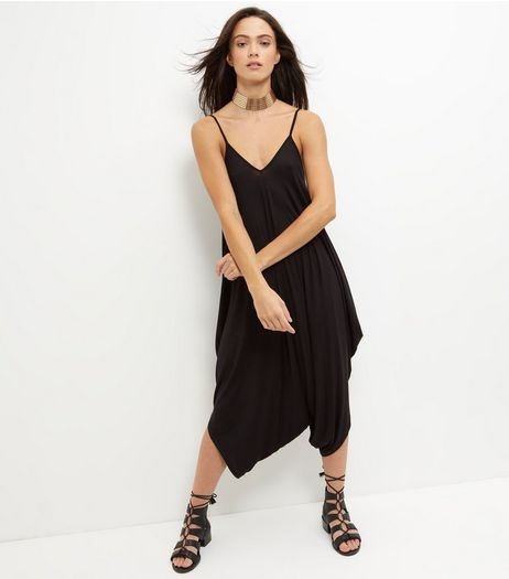 Black V Neck Drape Jumpsuit | New Look