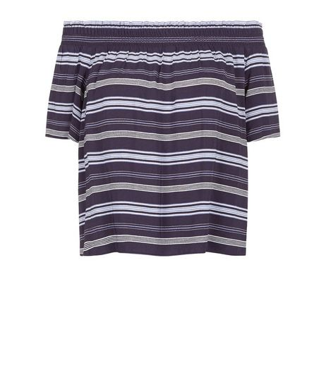 Blue Stripe Bardot Neck Top  | New Look