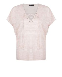 Mid Pink Fine Knit Lace Up Top | New Look