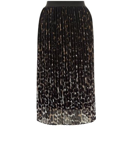 Black Animal Print Pleated Midi Skirt | New Look