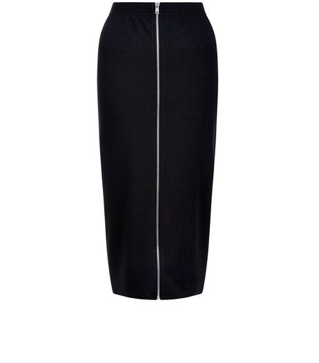 Black Ribbed Zip Front Midi Skirt  | New Look