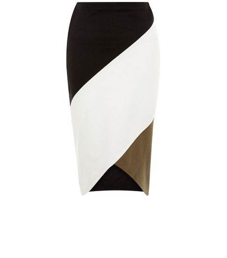 Black Colour Block Midi Skirt | New Look