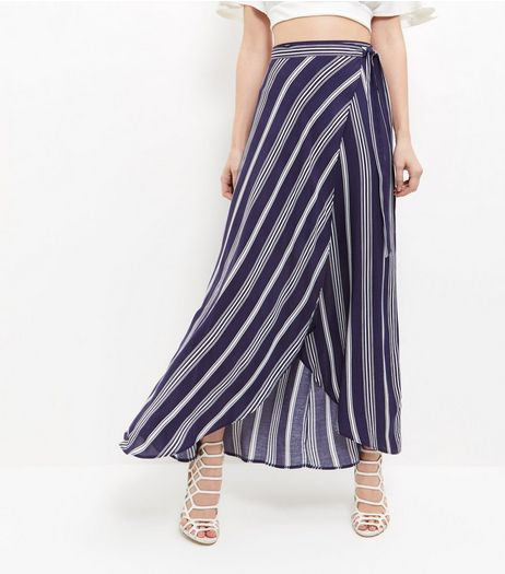 Blue Stripe Tie Waist Maxi Skirt  | New Look