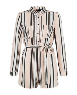 White Stripe Double Pocket Shirt Playsuit  | New Look