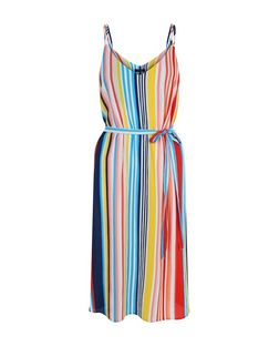 Yellow Contrast Stripe Tie Waist Cami Midi Dress  | New Look