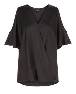Black Sateen Wrap Front Cold Shoulder Blouse  | New Look