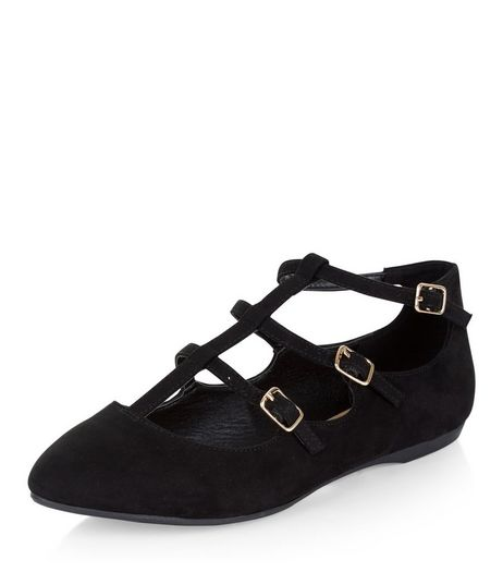 Teens Black Triple Strap Pointed Pumps | New Look