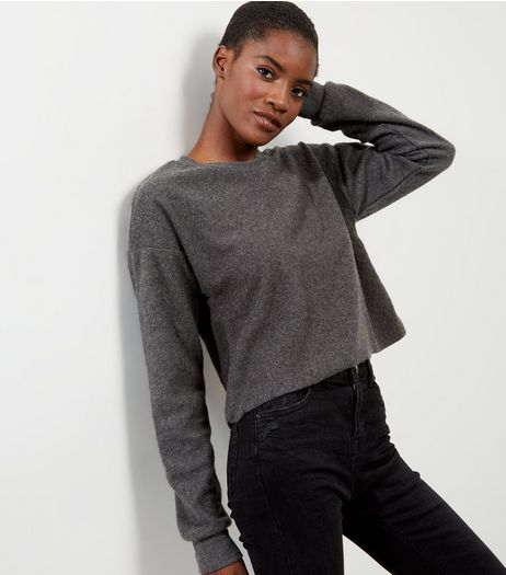 Dark Grey Brushed Cropped Sweater | New Look