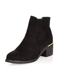 Teens Black Metal Trim Chelsea Boots | New Look