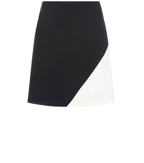 Monochrome Colour Block Mini Skirt  | New Look