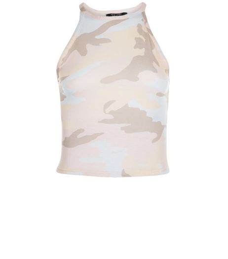 Teens Brown Camo Print Crop Top | New Look