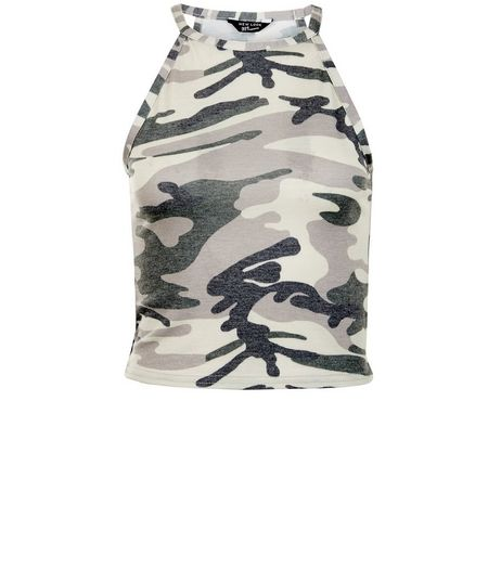 Teens Green Camo Print Cop Top | New Look