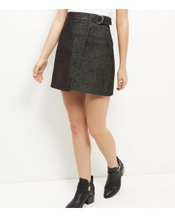 Black Cord Wrap Front Mini Skirt | New Look