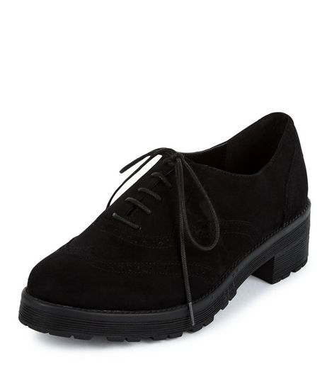 Black Lace Up Chunky Brogues  | New Look