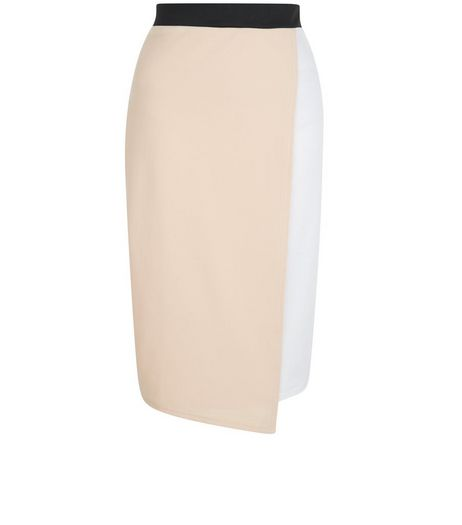 White Colour Block Wrap Front Pencil Skirt  | New Look