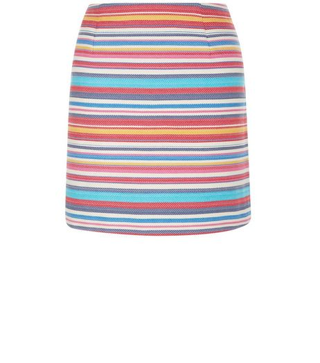 Multicoloured Jacquard Stripe Mini Skirt  | New Look