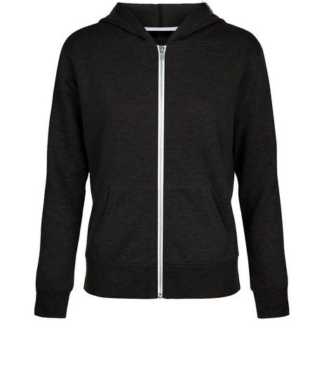 Teens Black Tape Sleeve Zip Up Hoodie  | New Look
