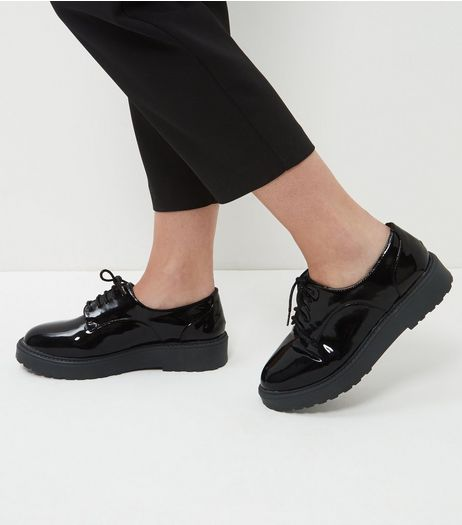 Wide Fit Black Patent Lace Up Shoes  | New Look