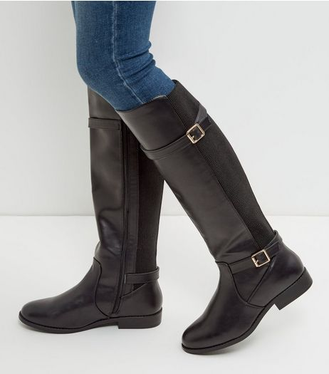 Wide Fit Black Leather-Look Knee High Boots | New Look