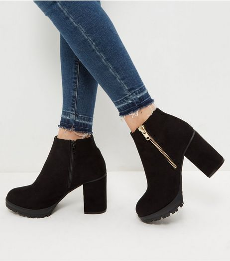 Wide Fit Black Suedette Chunky Block Heel Ankle Boots | New Look
