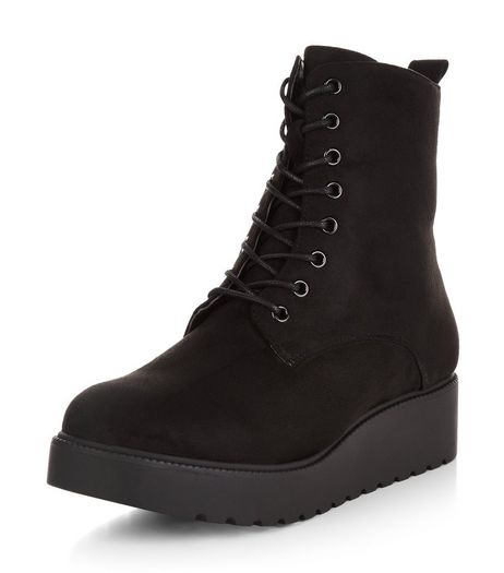 Wide Fit Black Velvet Lace Up Creeper Boots  | New Look