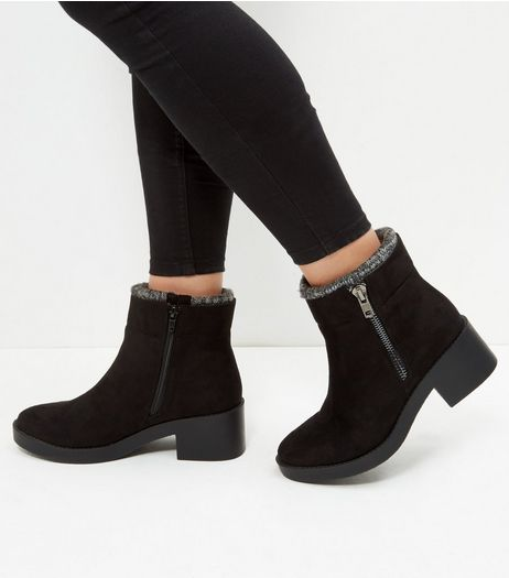 Wide Fit Black Knitted Collar Chelsea Boots | New Look