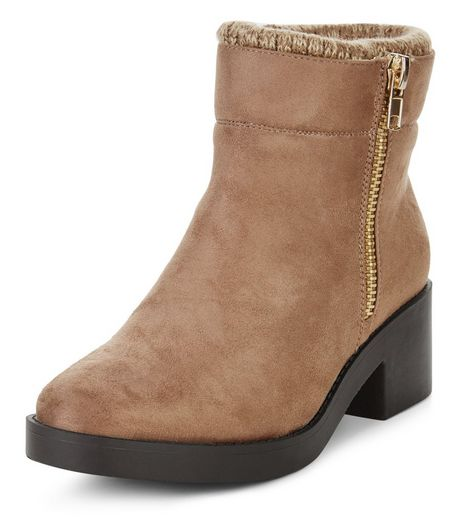 Wide Fit Light Brown Ankle Boots | New Look