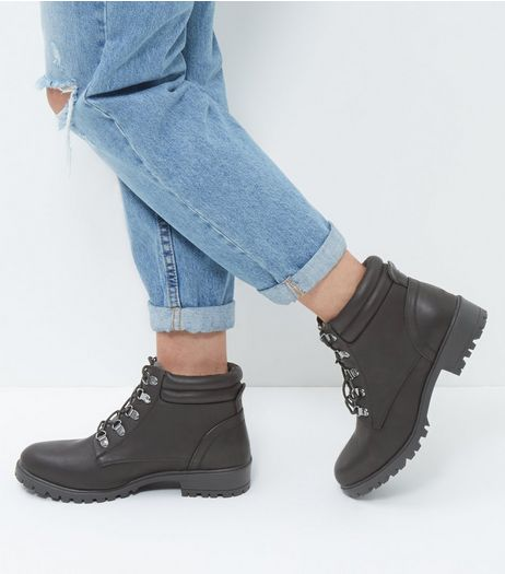 Wide Fit Black Lace Up Ankle Boots  | New Look
