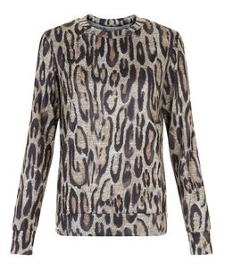 Cameo Rose Black Leopard Print Long Sleeve Top | New Look