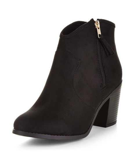 Wide Fit Black Suedette Western Boots  | New Look