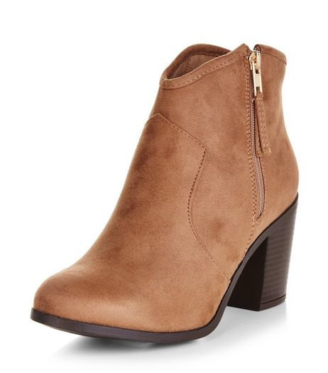 Wide Fit Light Brown Suedette Western Boots | New Look