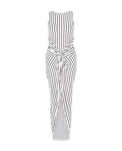 Cameo Rose Black Stripe Twist Front Dress | New Look