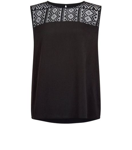 Anita and Green Black Lace Panel Sleeveless Top | New Look