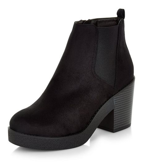 Wide Fit Black Suedette Block Heel Ankle Boots | New Look